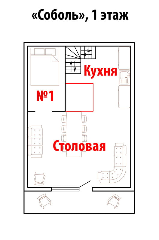 """№1 (коттедж """"Соболь"""") двухместное/трехместное"""