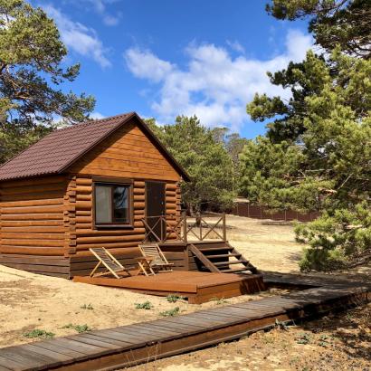 Отдельностоящий домик из бревна TWIN одноместное/двухместное размещение