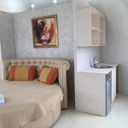 Дом-сфера с кухней и балконом