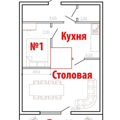 """№1 (коттедж """"Ангара"""" ,""""Енисей"""") одноместное/двухместное"""